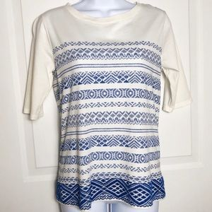 J. Crew Printed Embroidered Stripe Top XS